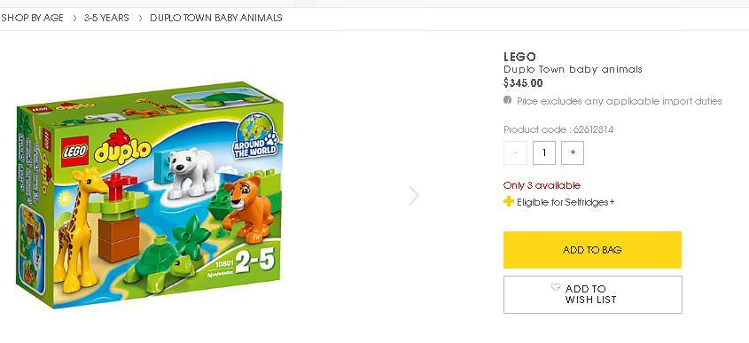 [Selfridge]買玩具好划算! 價差可破千的樂高(Lego)積木玩具