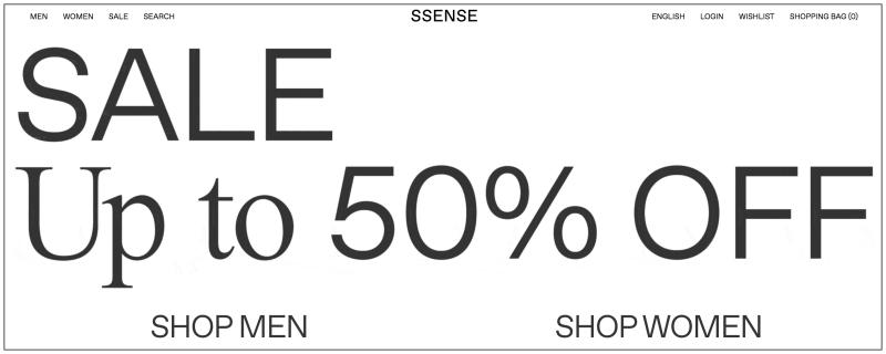 SSENSE折扣碼分享,2018歐美網購下殺5折+推薦品牌商品