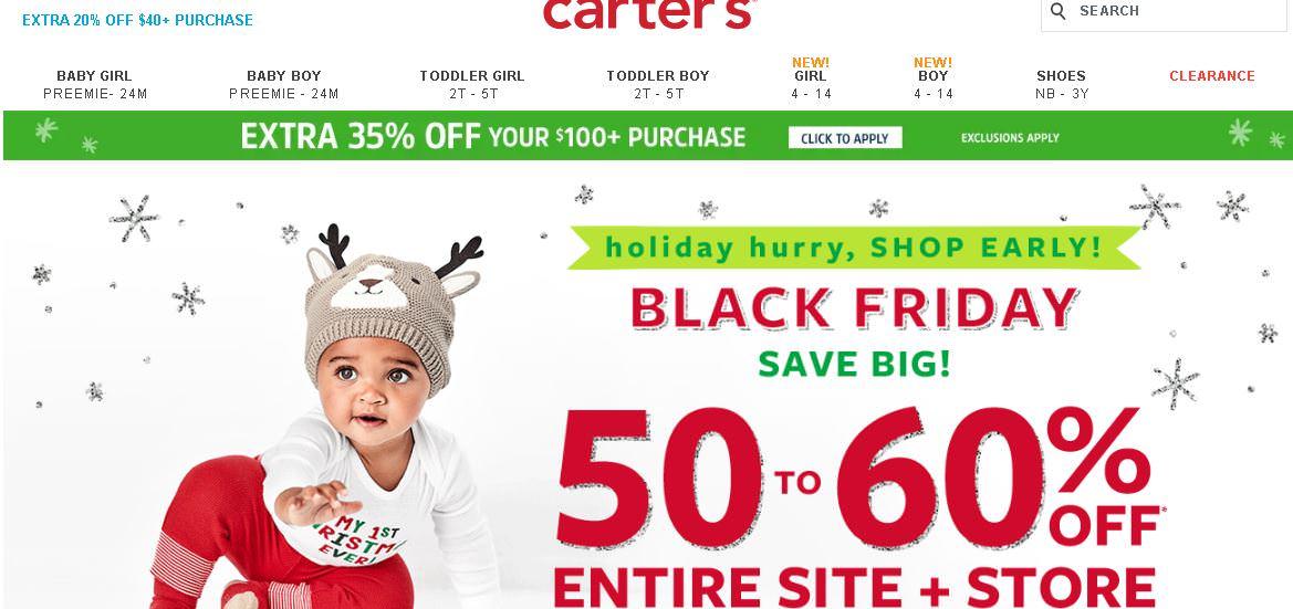carter's卡特黑五折扣碼分享,2018歐美童裝網購下殺4折+額外75折