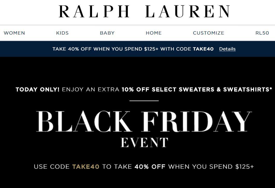 Ralph Lauren黑五折扣碼分享,2018歐美童裝網購打6折