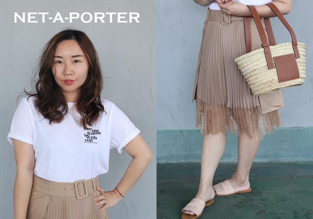 肉肉女穿搭分享 # 白T恤+百褶裙+藤編包+真皮編織鞋,在NET-A-PORTER購買,穿出悠閒文青風格